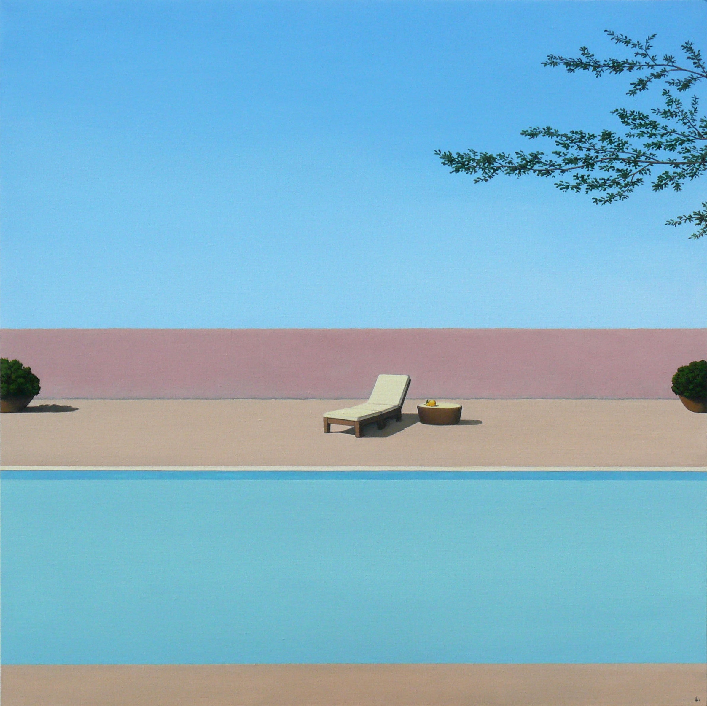 Pool with a pear - landscape painting