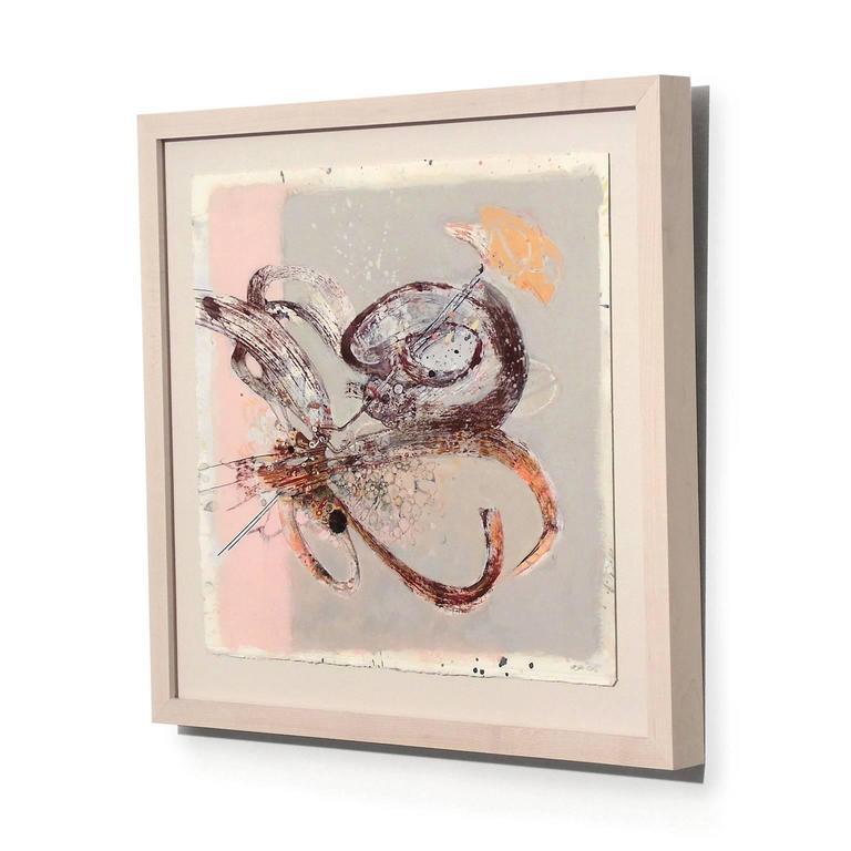 Snail Fiddler - Beige Abstract Drawing by Melissa Zarem