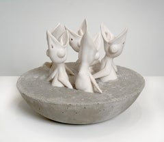 """""""Five Hungry Birds"""" Porcelain Birds in Concrete Nest by Bethany Krull"""
