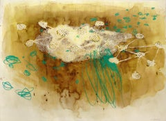 """""""Buried in Coffee and Copper"""" Abstract Mixed Media on Paper by Melissa Zarem"""
