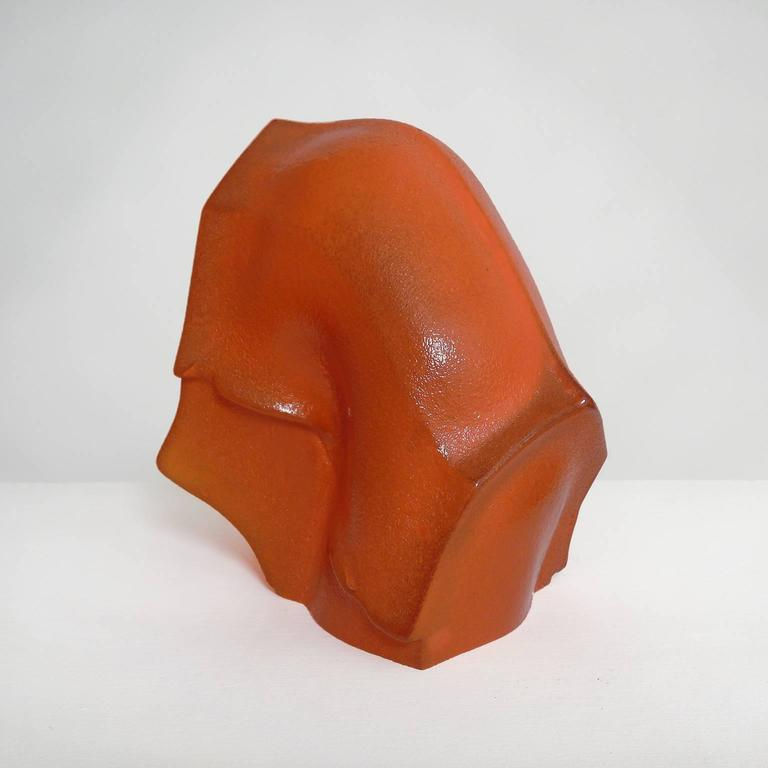 Swayback Barn -orange glass  - Contemporary Sculpture by Angus M. Powers