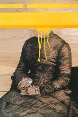 Tethered (R) -seated figure with orange paint