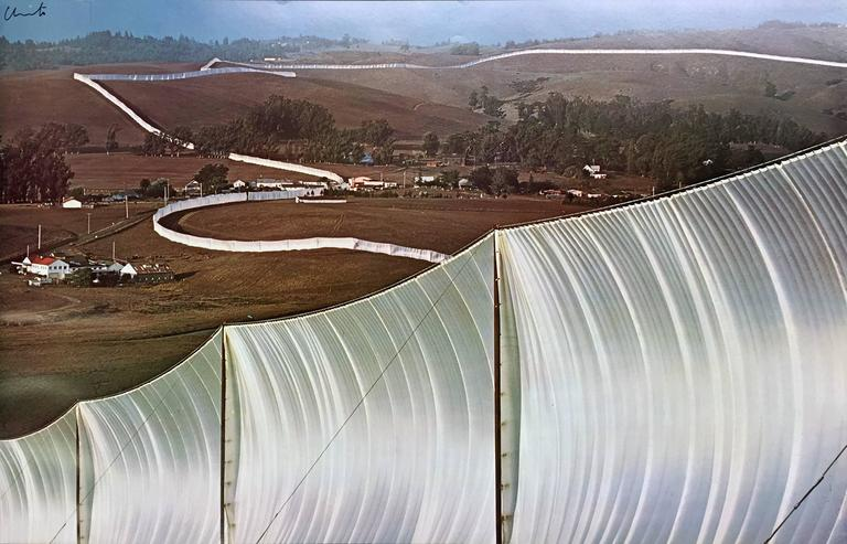 Christo and Jeanne-Claude Landscape Print - Running Fences White