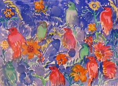 Finches on Blue