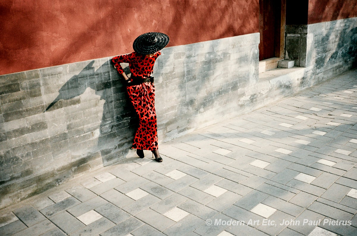 Photograph - Ling as Madame Song at the Red Wall - landscape, China - Framed
