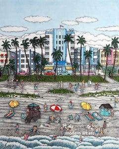 Etching - South Beach, Miami, Florida