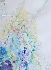 Light intricate watercolor piece handpainted on museum cotton rag - unique
