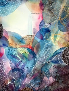 Intricate delicate watercolor piece on museum cottom rag paper