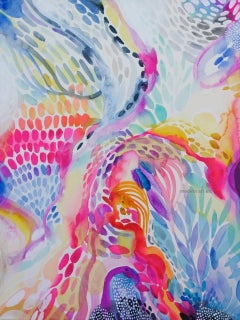 Delicate colorful intricate watercolor handpainted on museum cotton rag paper