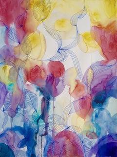 Bright colorful intricate fine watercolor on museum cotton rag - unique