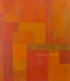 Gold Zone - abstract expressionist oil painting - large, architectural, color
