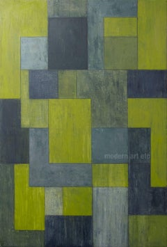 Large scale abstract painting - Urban green color field abstract