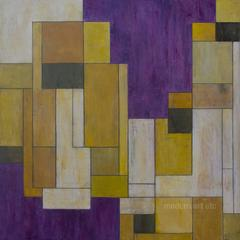 Large abstract oil painting - Yellow Makes the Moves  - architectural, color