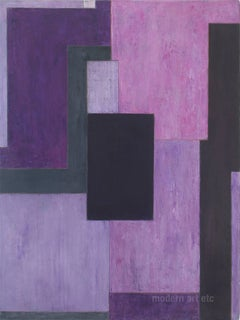Large abstract oil painting - Violet -Architectural, color field, oil