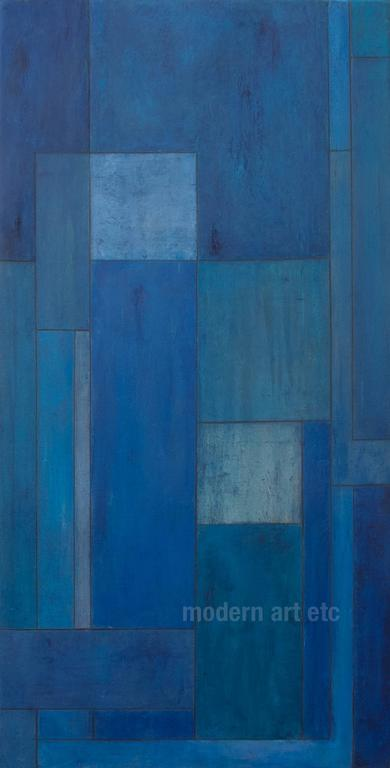 Stephen Cimini Large Abstract Oil Painting Blue