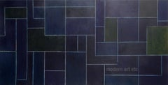 """36x76x2"""" Large horizontal oil painting - Midnight - architectural, color"""