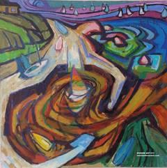 Oil on Canvas - Californian, American oil landscape, Morro Bay, California,1984