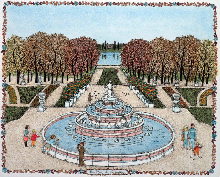 Cuca romley etching jardin francais iv les tuileries for Jardin francais jewelry