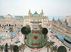 Handcolored Etching - Monte Carlo, Monaco, Europe