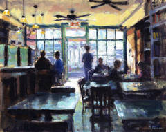 Painting - New York City - Taking the order, Soho cafe (modern impressionist)