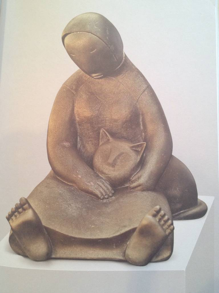 Sculpture -Bronze - Woman and Cat series No.4