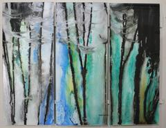 Large abstract art handpainted on safety glass in specialty inks and oils