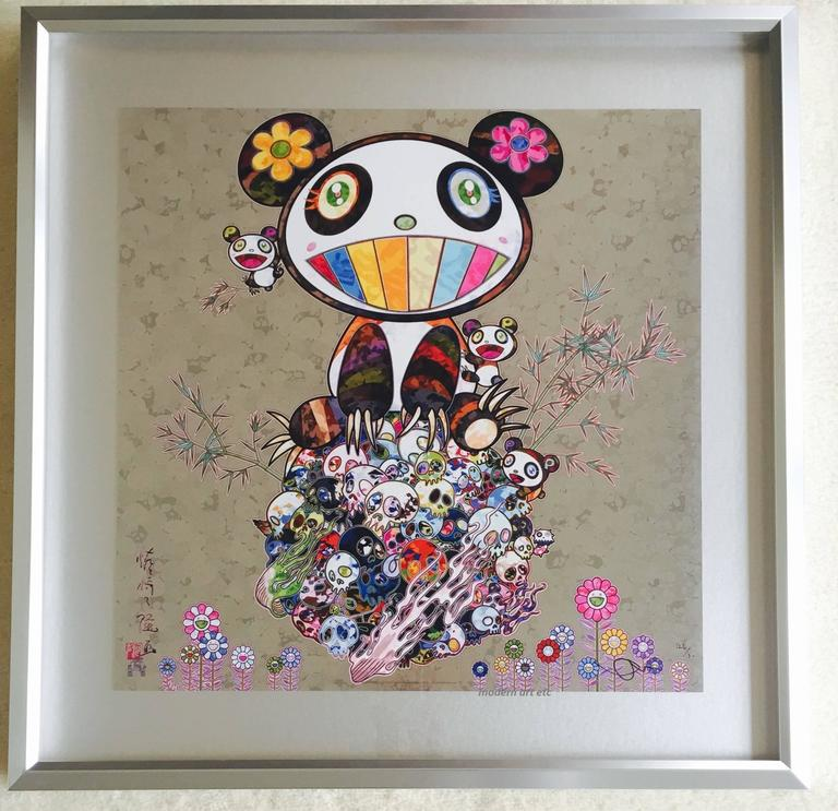 lithograph panda and cubs custom framed japanese pop art panda and skulls
