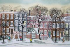 Print / Hand Colored etching - Greenwich Village, New York  (last ones left)