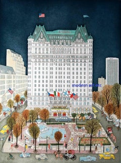Print / Etching - Plaza Hotel Night, New York City - unique piece