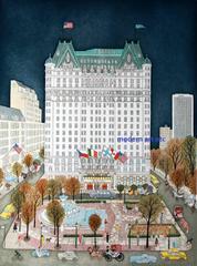 Print / Etching - Plaza Hotel Night, New York City - unique piece