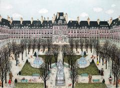 Hand colored etching - Place des Vosages, Paris / VIEW MORE PARIS / EUROPE serie