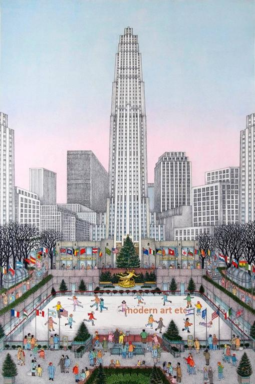 Cuca Romley Landscape Print - Hand Colored Etching - Rockefeller Center, New York (Edn of 175)