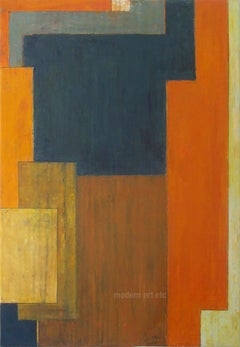 Food for Soul, Blue - Abstract oil painting - architectural, color, mid century