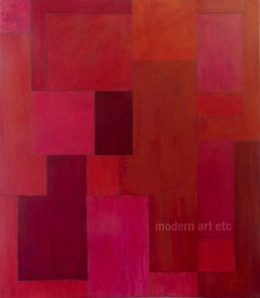 Red Zone - abstract expressionist oil painting - large, architectural, color