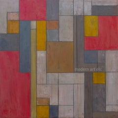 """Abstract oil painting - """"Red and Gold"""" architecture color field"""