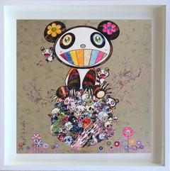 Murakami offset print - Silver Panda - Panda and Panda cubs