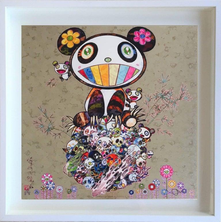 Takashi Murakami Figurative Print - Murakami - Silver Panda - Panda and Panda cubs - unframed