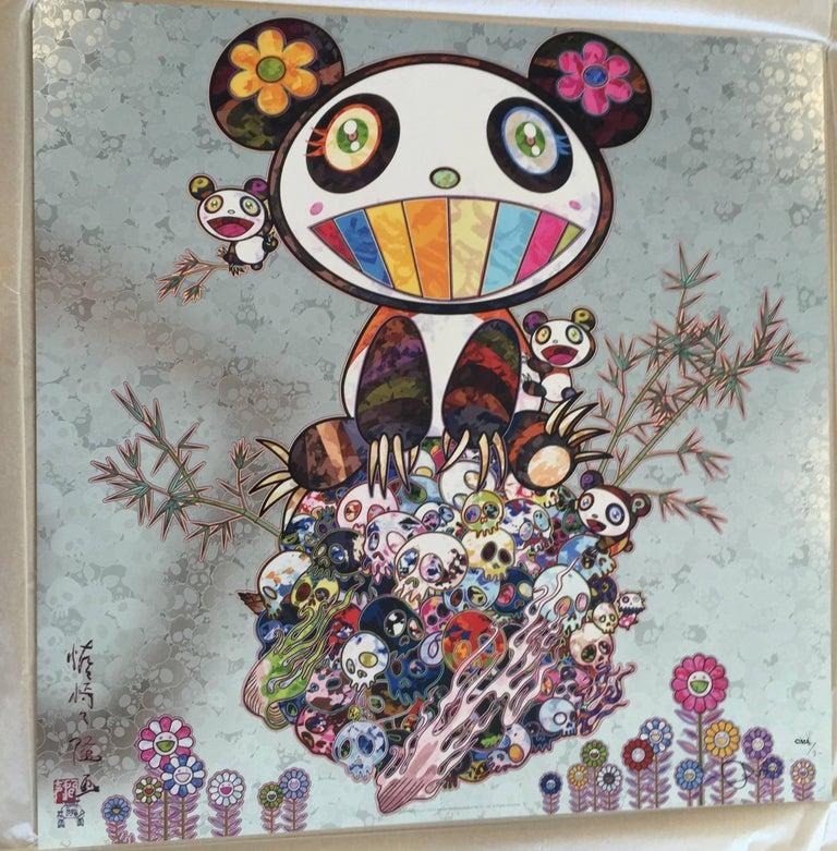 Murakami - Silver Panda - Panda and Panda cubs - unframed - Print by Takashi Murakami