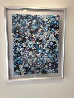 Offset print with Flowers and Skulls in blue, sold framed