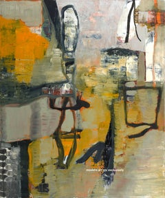 Large Oil on Canvas - Tiger Tiger   (contemporary abstract expressionism yellow)