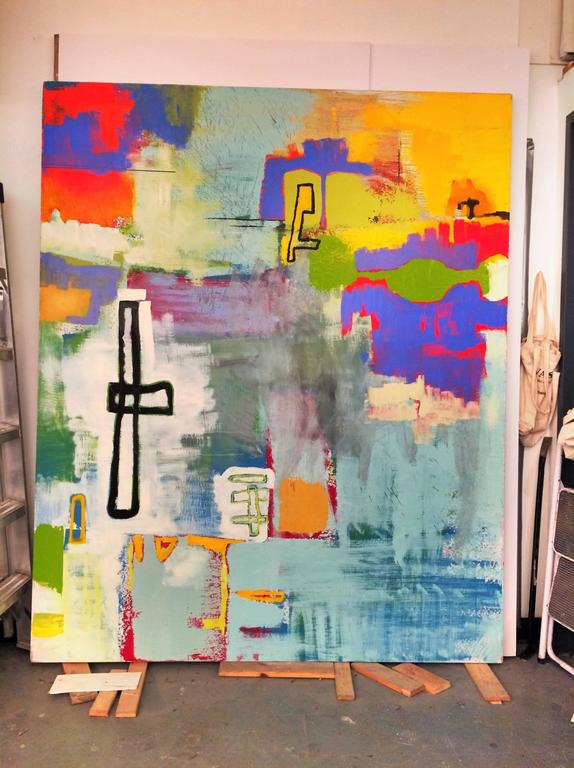Large Oil Painting - Okinawa (Abstract Expressionist) - Beige Abstract Painting by Alexis Portilla