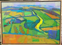 Oil Painting - #1091 Bird's Eye View of RIver, Wittenham Clumps, England, 1992