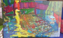 Oil on Canvas - #1096 Bridge Over Lake and Flowers, Caversham, England