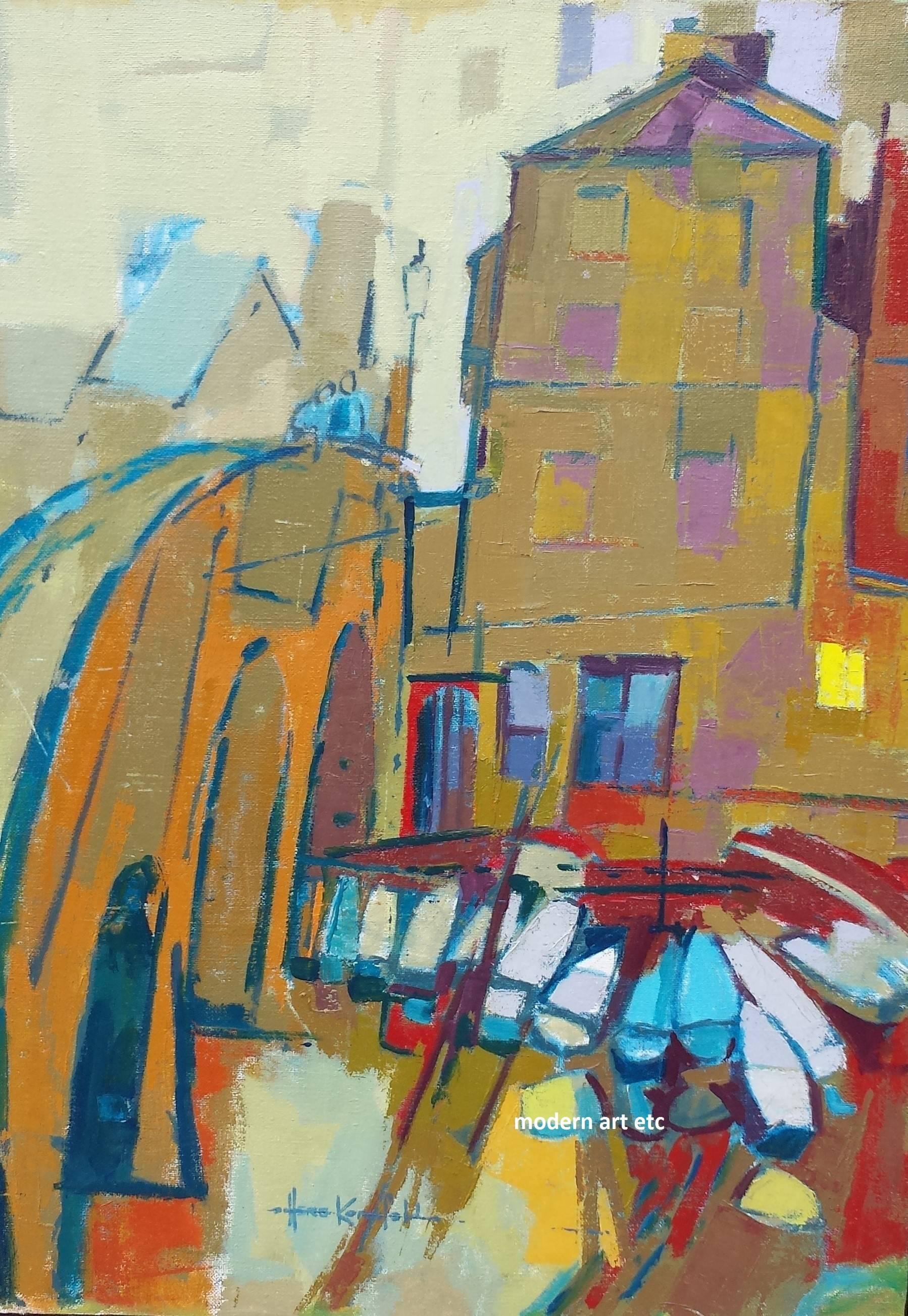 Oil on Canvas - #1100 Rental Boat by Bridge, Oxford, England