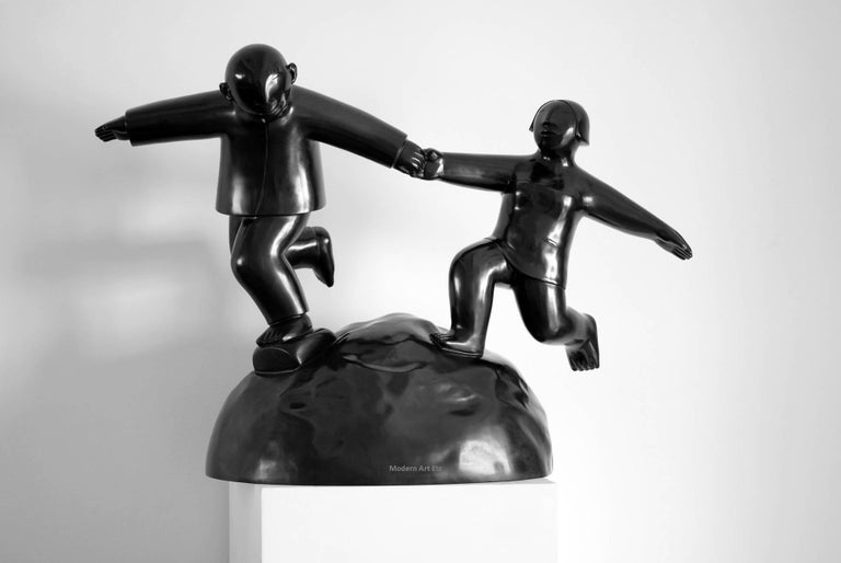 Xie Ai Ge Abstract Sculpture - Black Bronze series - Fuwang - You and Me