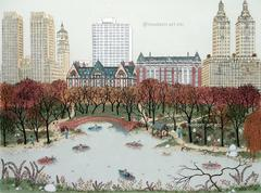 Etching - Central Park West, New York (hand-painted etching)