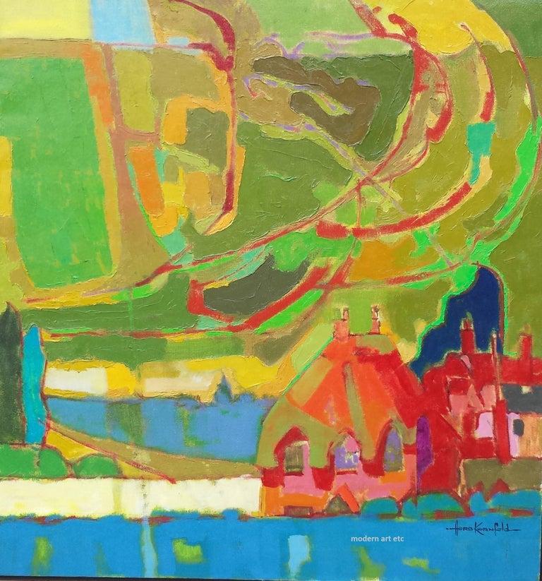 "Herb Kornfeld Landscape Painting - Oil on Canvas painting - unframed, ""Big Sky"" UK (English landscapes)"