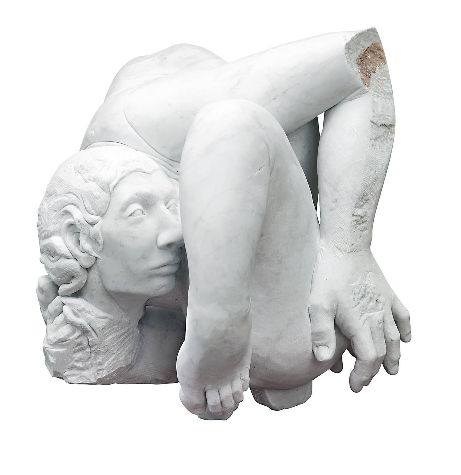 Embrione - hand carved figurative nude Carrara marble sculpture