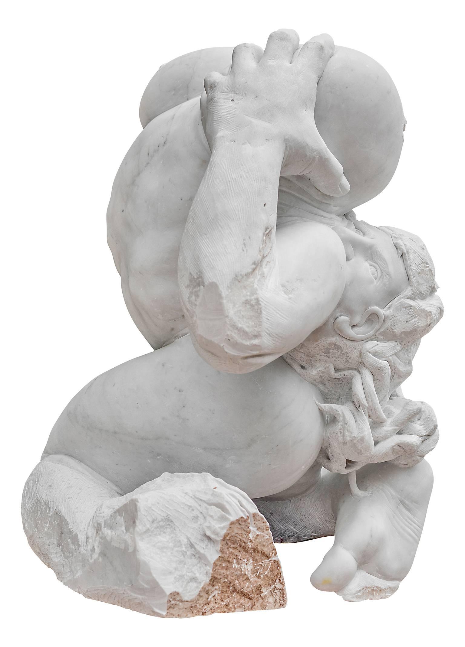 Madre Terra - hand carved figurative Carrara marble sculpture