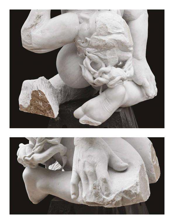 Madre Terra - hand carved figurative Carrara marble sculpture - Gray Nude Sculpture by Lorenzo Vignoli